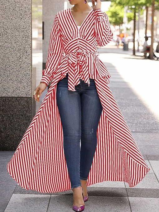 Ericdress Suspenders V-Neck Stripe Long Blouse