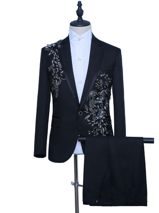 Ericdress Floral Pants Button Mens Dress Suit