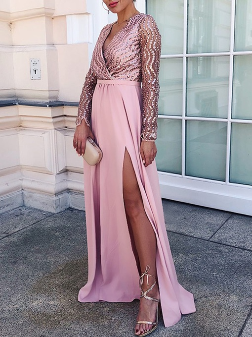 Ericdress Long Sleeves V-Neck A-Line Evening Dress 2019