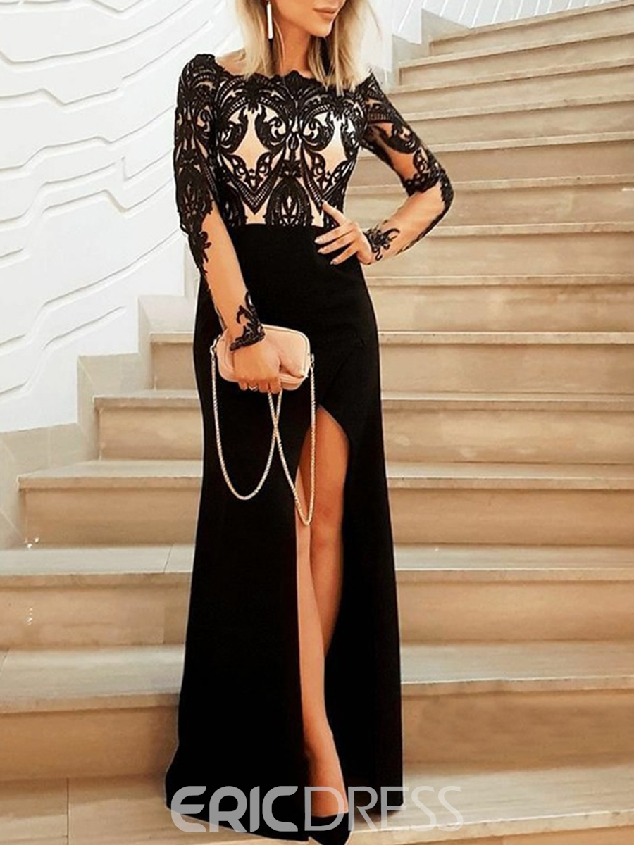 Ericdress Bateau Long Sleeves Sheath Evening Dress