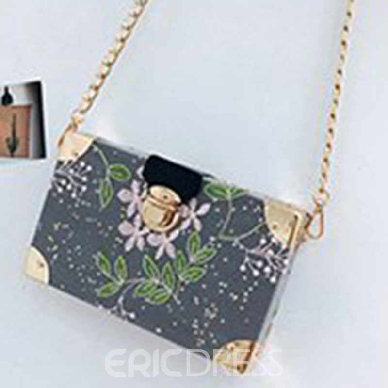 Ericdress Embroidery Floral PU Flap Crossbody Bags