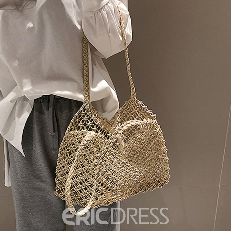 Ericdress Polyester Plain Knitted Barrel-Shaped Shoulder Bags