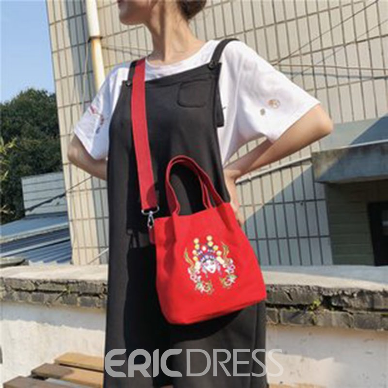 Ericdress Canvas Print Cartoon Barrel-Shaped Tote Bags