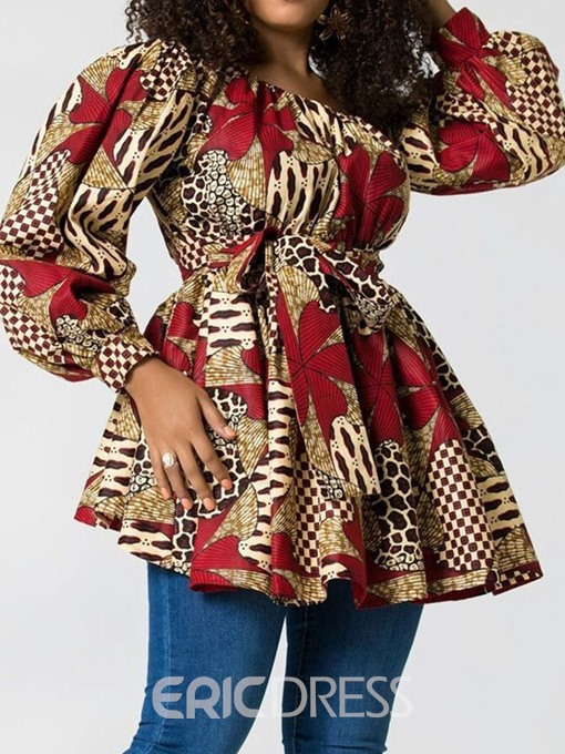 Ericdress Color Block Off Shoulder Lace-Up Dashiki Blouse