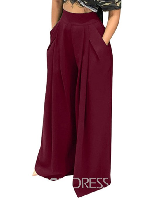 Ericdress Loose Plain Full Length Wide Legs Casual Pants