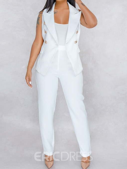 Ericdress Plain Button Lapel White Women's Suit Vest And Pants Two Piece Sets
