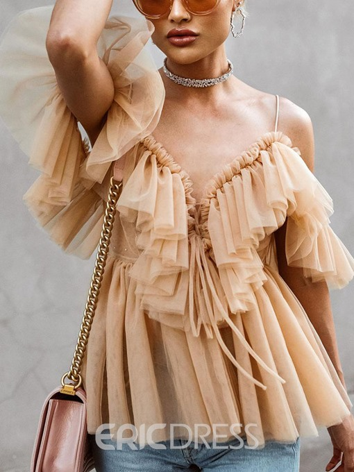 Ericdress Backless V-Neck Ruffles Sexy Blouse