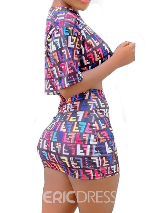 Ericdress Letter Print Bodycon Skinny T-Shirt And Skirt Two Piece Sets
