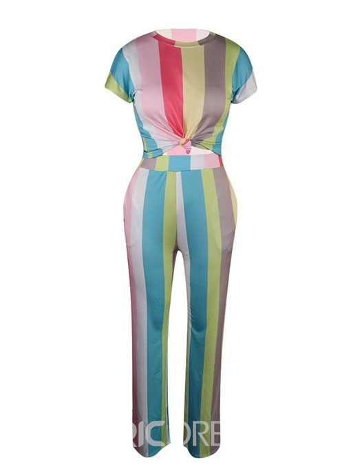 Ericdress Stripe Pants Pullover Round Neck Two Piece Sets