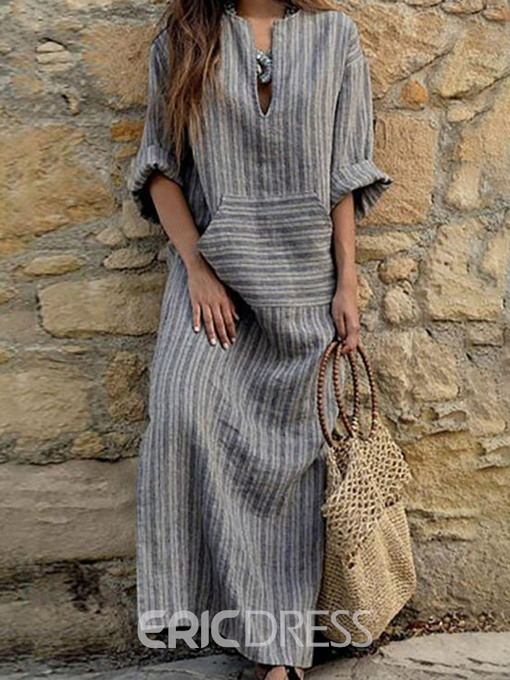 Ericdress Striped Casual Ankle-Length V-Neck Pocket Dress