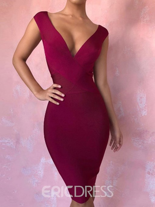 Ericdress Sleeveless V-Neck Knee-Length Sexy Plain Dress