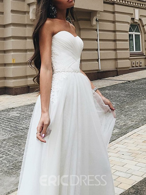 Ericdress Sweetheart Beading Lace Country Wedding Dress 2019