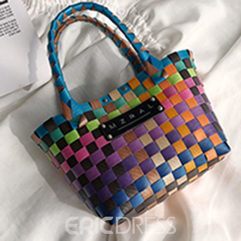 Ericdress Plaid Knitted PU Square Handbags