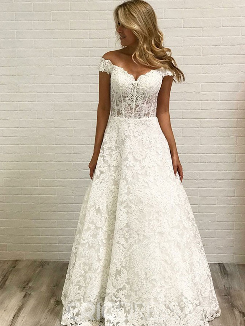 Ericdress Off-The-Shoulder Lace Church Wedding Dress