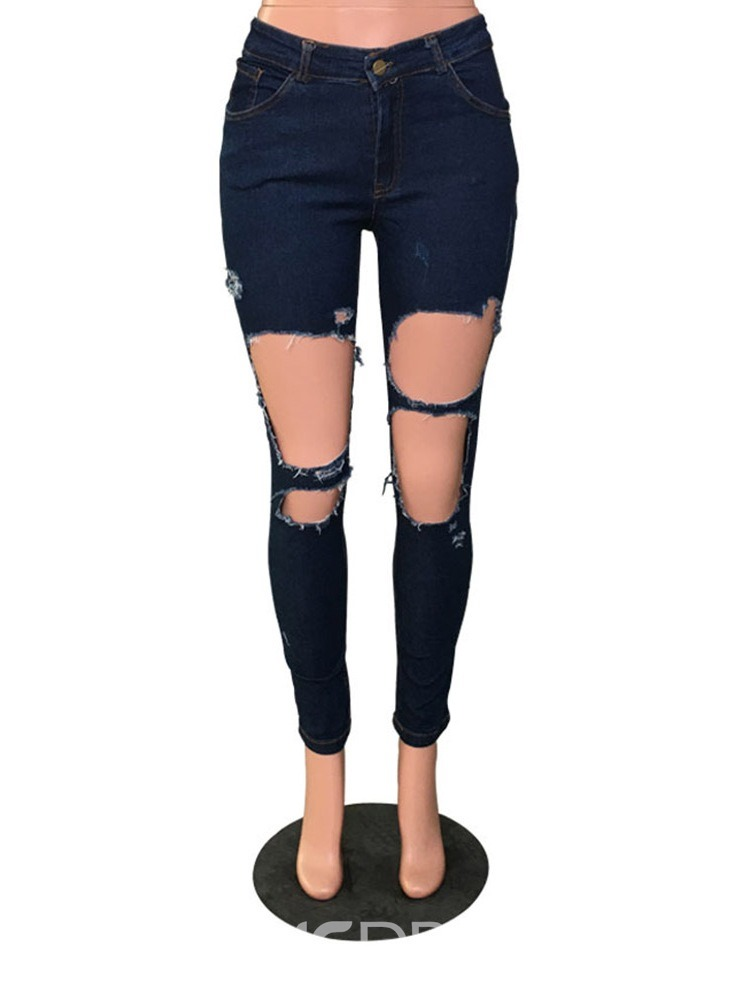 Ericdress Sexy Plain Skinny Zipper Ripped jeans