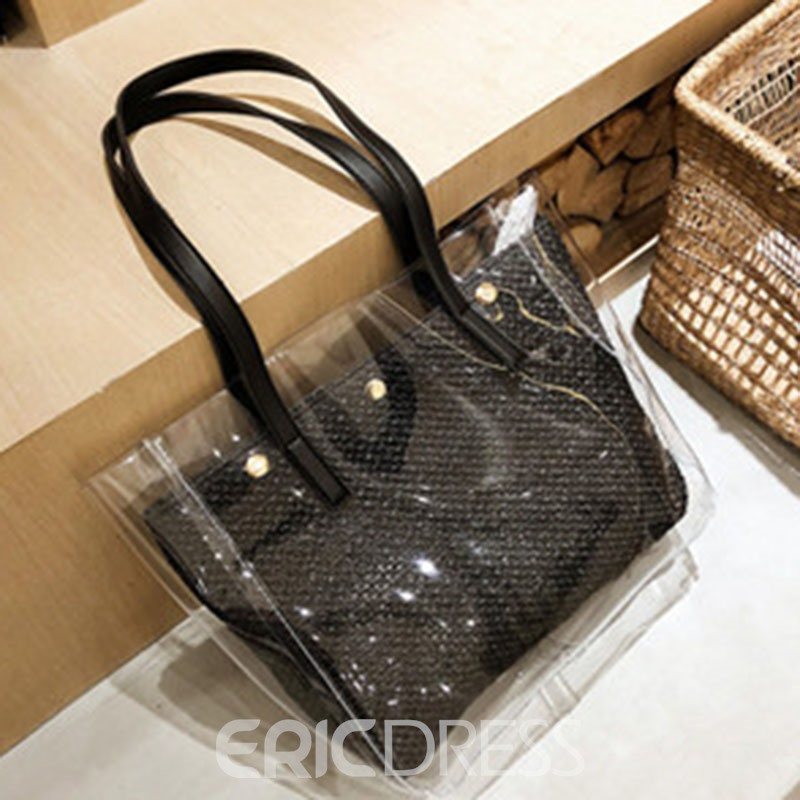 Ericdress Plain Knitted PVC Rectangle Shoulder Bags
