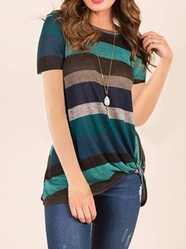Ericdress Stripe Round Neck Casual T-Shirt