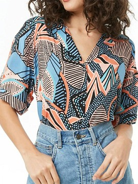 Ericdress Vintage Print Geometric Summer Blouse