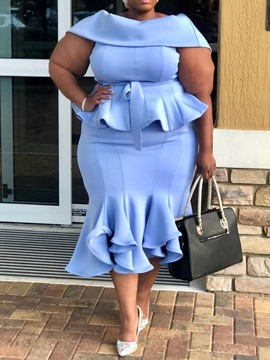 Ericdress Plus Size Ruffles Mid-Calf Patchwork Plain Mermaid Dress