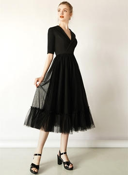 Ericdress Tea-Length A-Line V-Neck Half Sleeves Black Cocktail Dress 2019