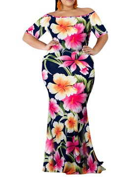 Ericdress Floor-Length Plus Size Print African Fashion Off Shoulder Dress