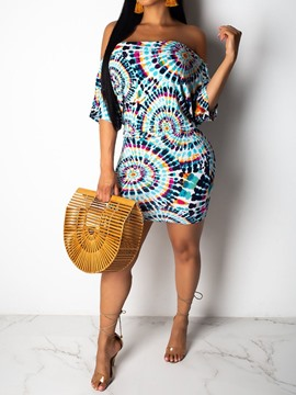 Ericdress African Fashion Off Shoulder Half Sleeve Bodycon Dress