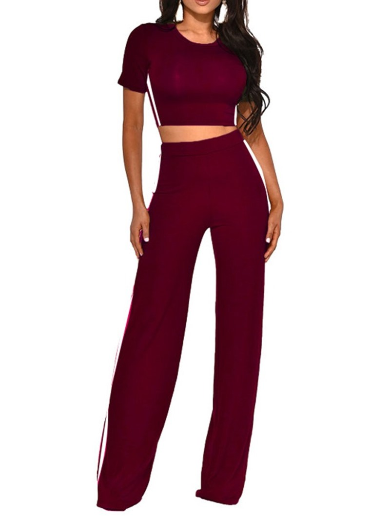 Ericdress_Pants_Stripe_Pullover_Straight_Two_Piece_Sets