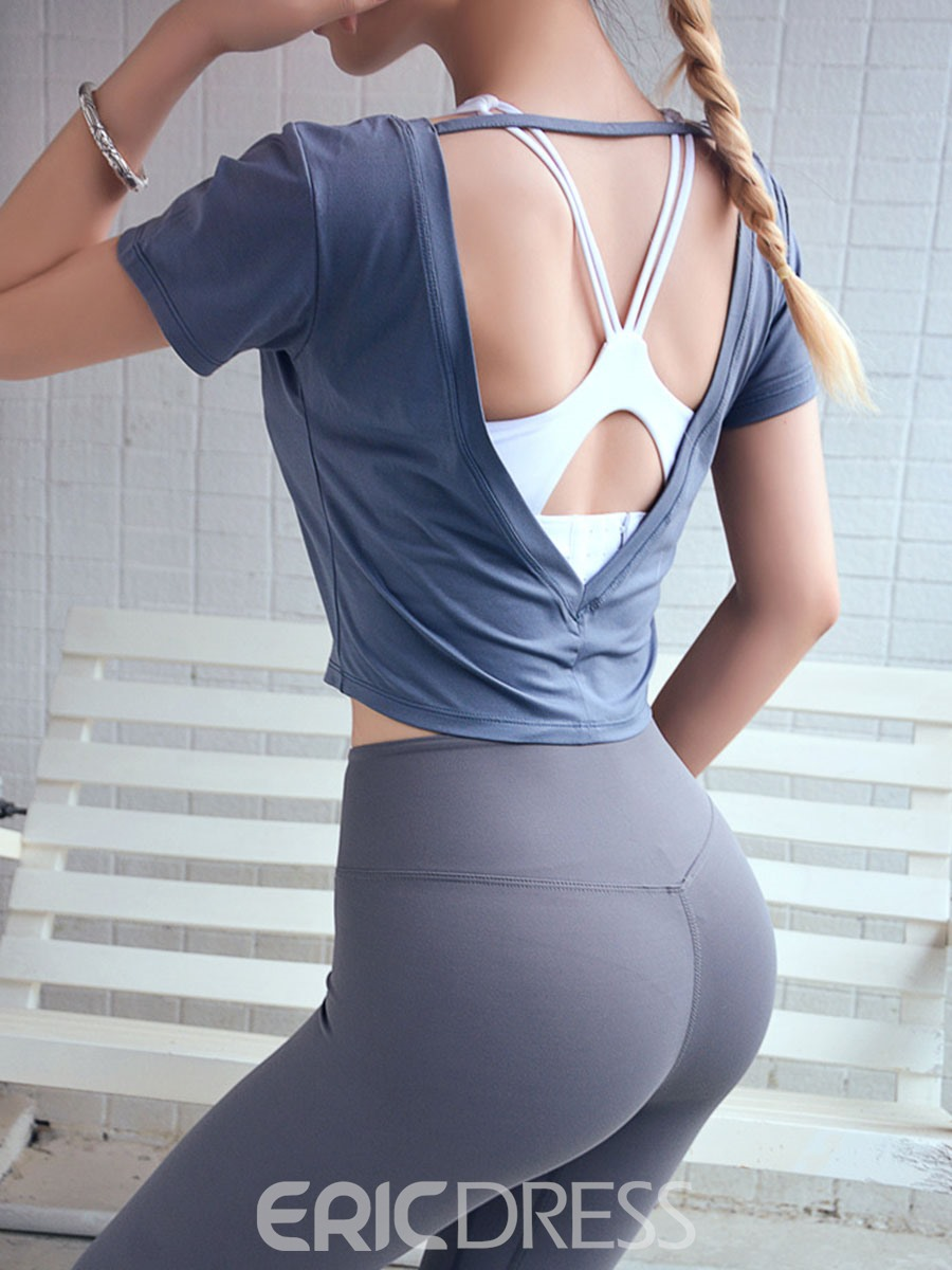 Ericdress Women Backless Solid Short Sleeve Gym Sports Tops
