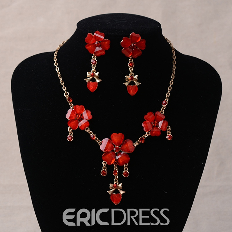 Earrings Floral E-Plating Jewelry Sets (Wedding)