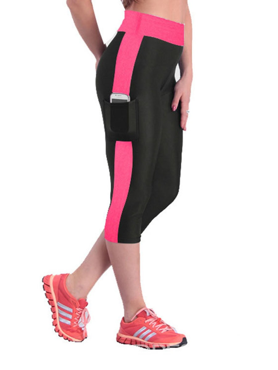 Ericdress Color Block Breathable Mid-Calf Sports Gym Short Leggings
