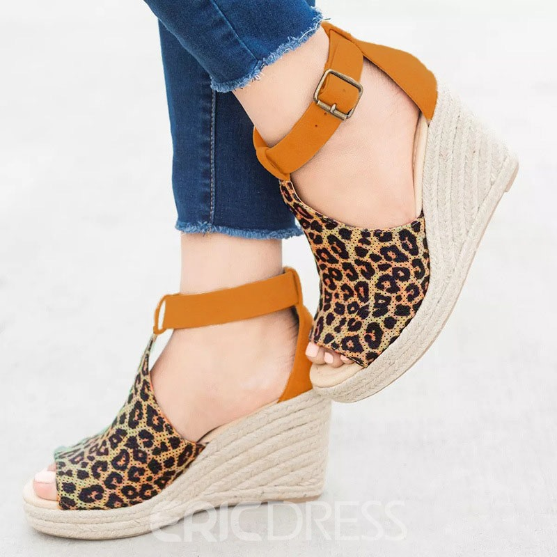 Ericdress Leopard Print Peep Toe Wedge Heel Women's Sandals