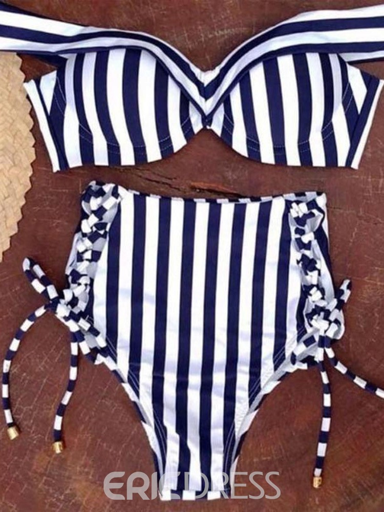 Ericdress Stripe Lace-Up Bowknot Swimsuit
