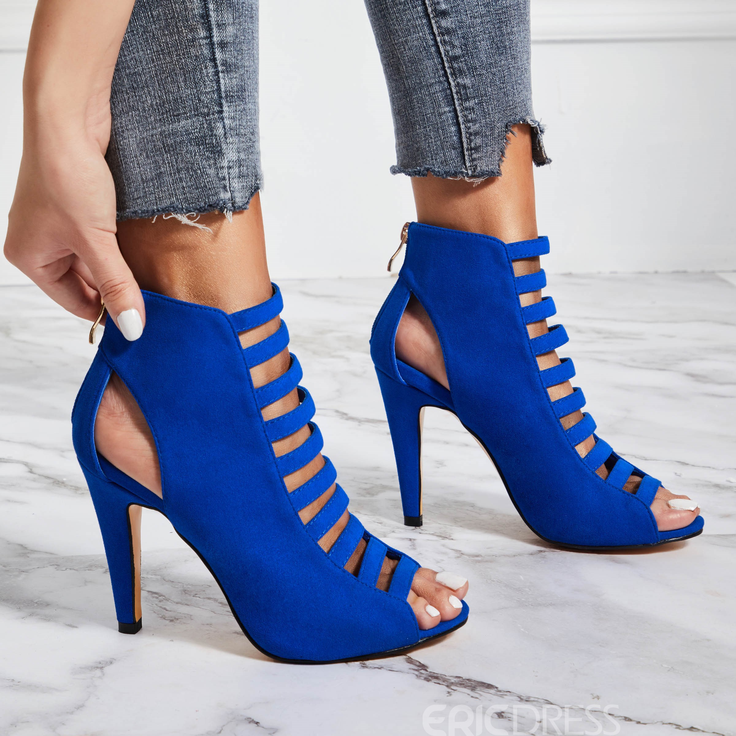 Ericdress Blue Peep Toe Bakc Zip Stilettos Sandals