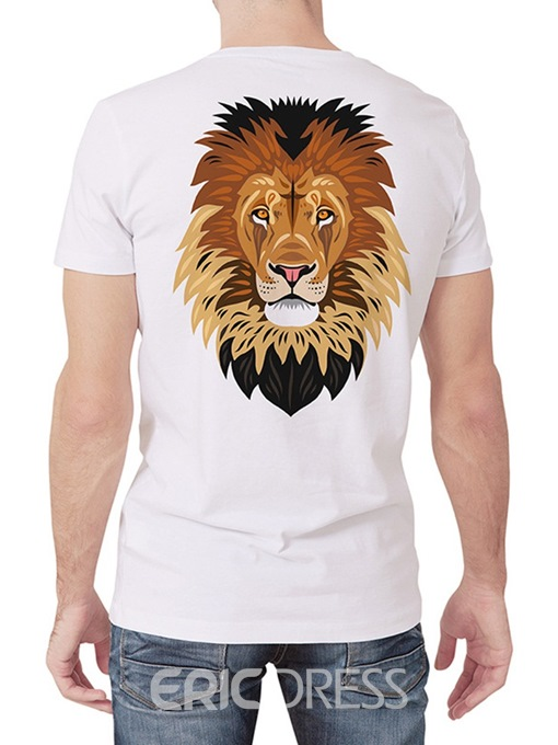 Ericdress Animal Print Casual Straight Mens Short Sleeve T-shirt
