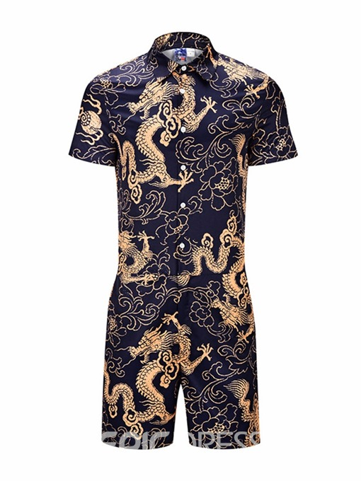 Ericdress Casual Pocket Floral Mens Summer Outfit