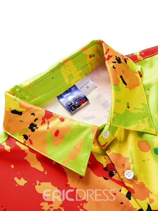 Ericdress Shirt Color Block Casual Mens Summer Outfit