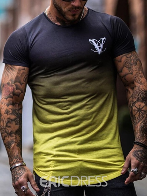 Ericdress Casual Color Block Round Neck Loose Mens Short Sleeve T-shirt