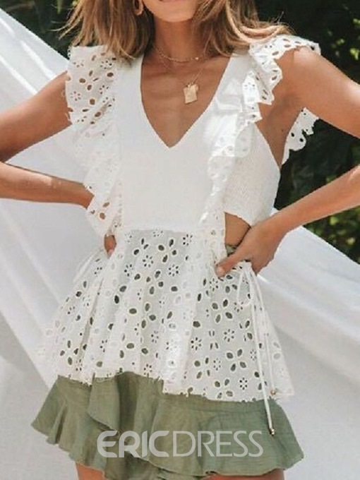 Ericdress V-Neck Hollow Lace Summer Blouse