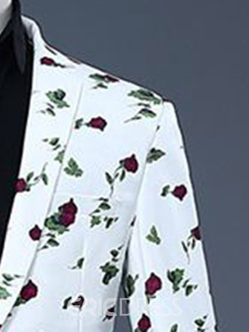 Ericdress Button Pants Floral Mens Dress Suit
