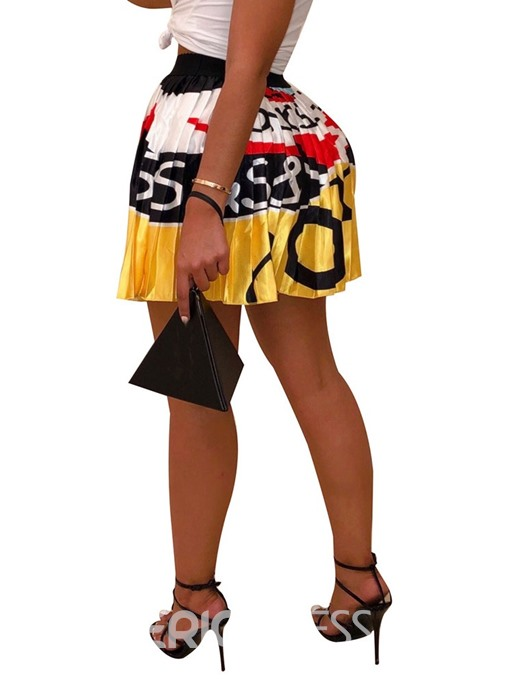 Ericdress Cartoon Pleated Print Mini Skirt