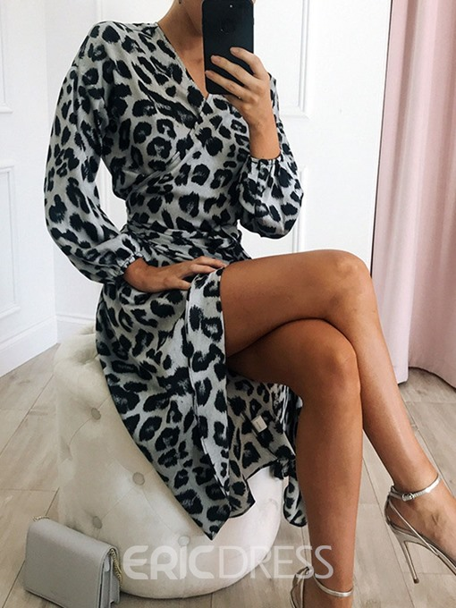 Ericdress African Fashion Asymmetric V-Neck Leopard Casual Dress