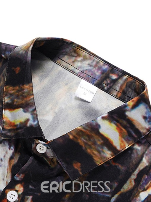 Ericdress Casual Lapel Color Block Mens Summer Single-Breasted Shirt