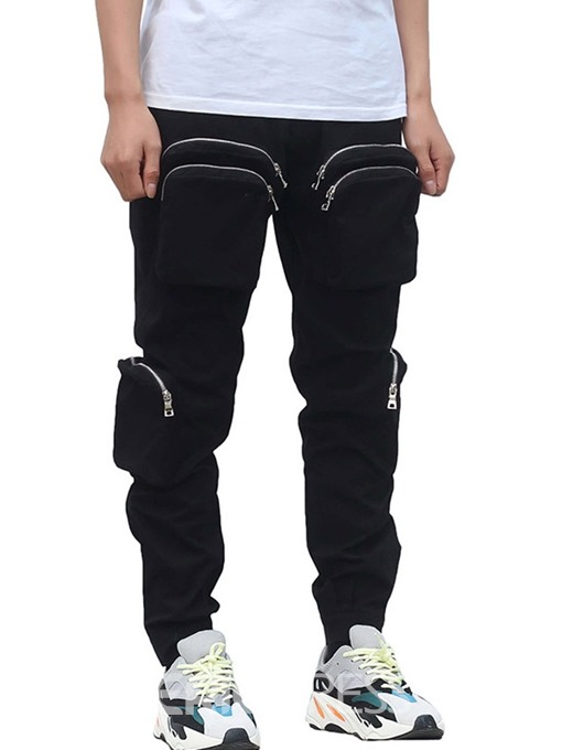 Ericdress Overall Zipper Plain Mid Waist Spring Mens Casual Pants