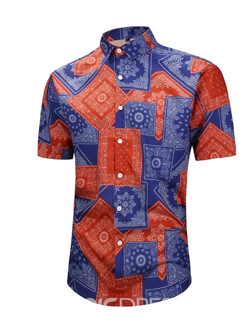 Ericdress Casual Print Color Block Loose Mens Summer Shirt