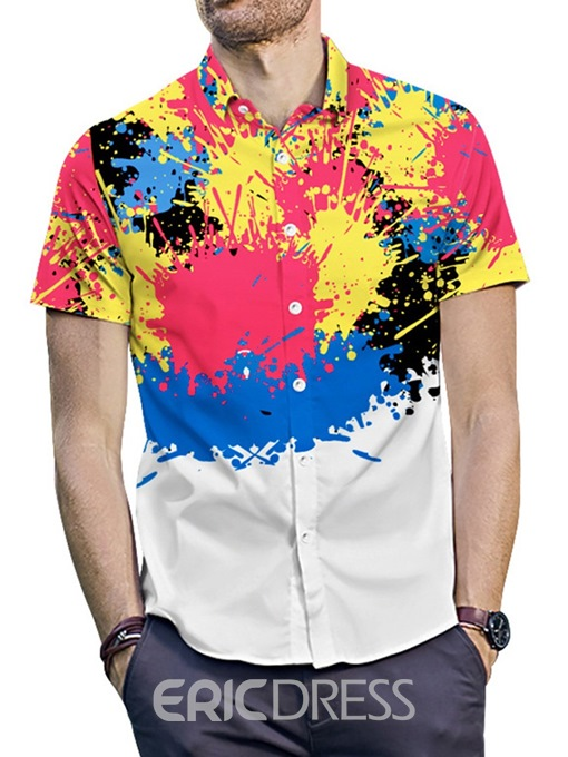 Ericdress Casual Color Block Button Loose Mens Summer Shirt