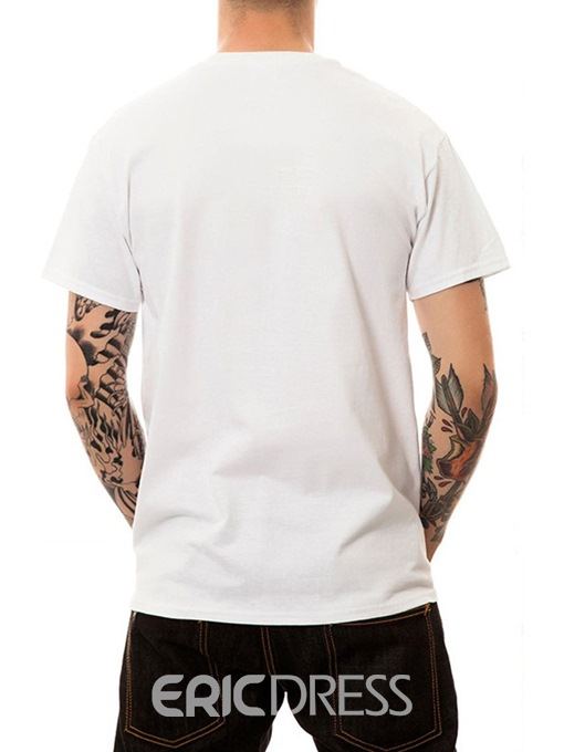 Ericdress Animal Casual Round Neck Straight Mens Short Sleeve T-shirt