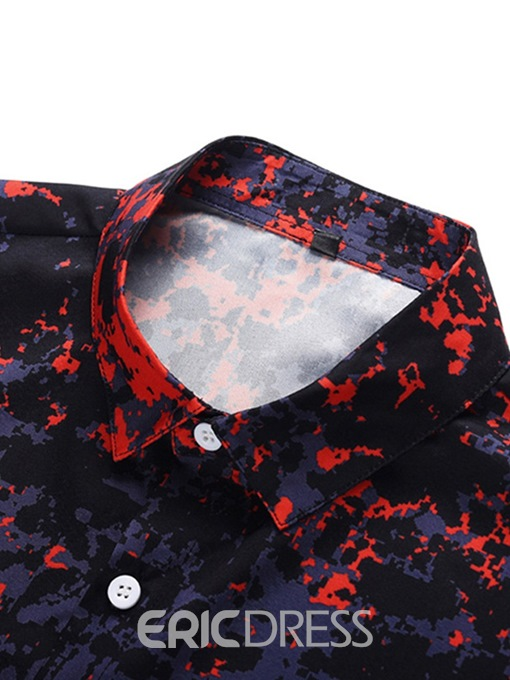 Ericdress Lapel Button Color Block Summer Mens Loose Shirt