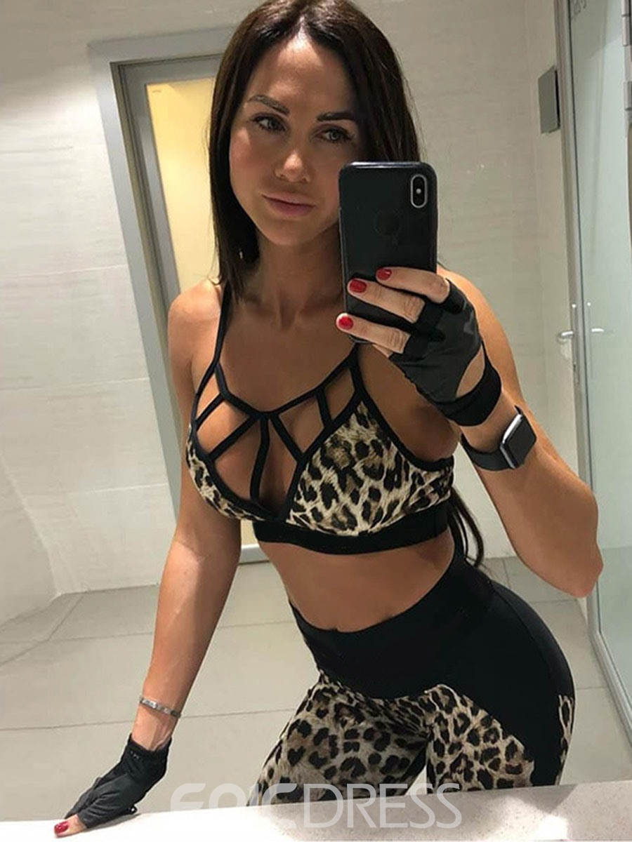 Ericdress Leopard Patchwork Leggings Sleeveless sports Sets