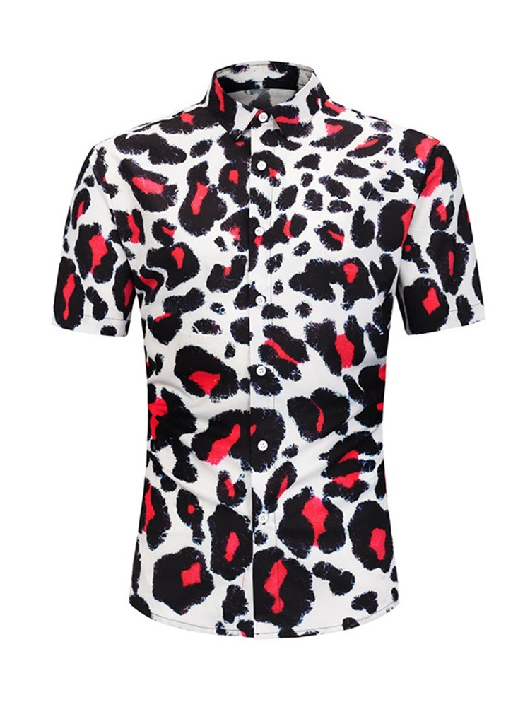 Ericdress Casual Button Leopard Loose Mens Single-Breasted Shirt