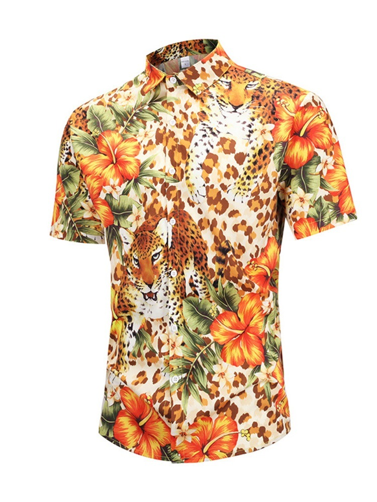 Ericdress Button Casual Animal Single-Breasted Mens Summer Shirt